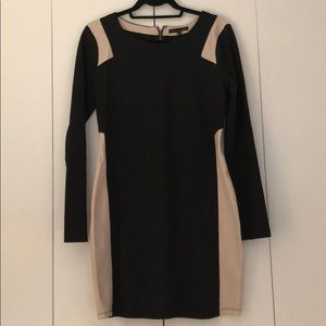 Black and Nude color block dress
